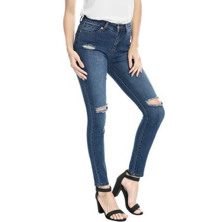 Unique Bargains Women Mid Rise Stretch Distressed Design Skinny Jeans Blue XL - image 2 de 7