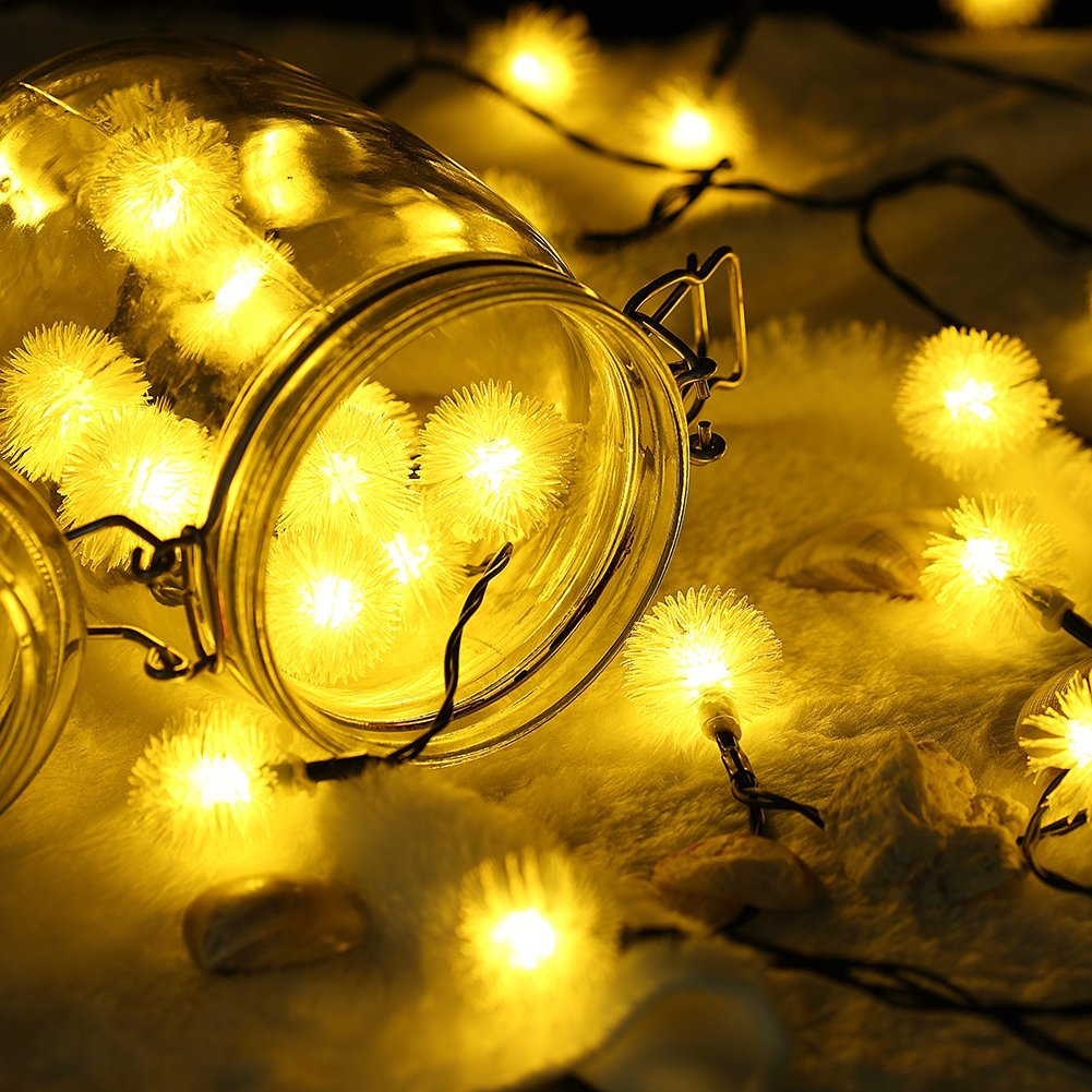 2 PACK -Qedertek Holiday Lighting Chuzzle Ball String Lights, 15.7ft 20 LED Lights for Indoor and Outdoor, Home, Lawn,... by Qedertek