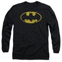 Batman-Classic Logo Distressed - Long Sleeve Adult 18-1 Tee - Black, 2X