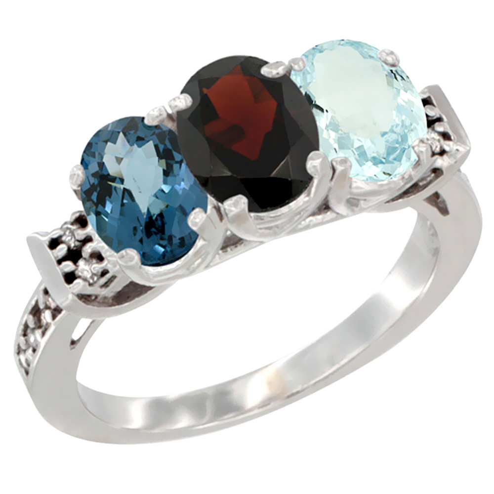 10K White Gold Natural London Blue Topaz, Garnet & Aquamarine Ring 3-Stone Oval 7x5 mm Diamond Accent, sizes 5 10 by WorldJewels