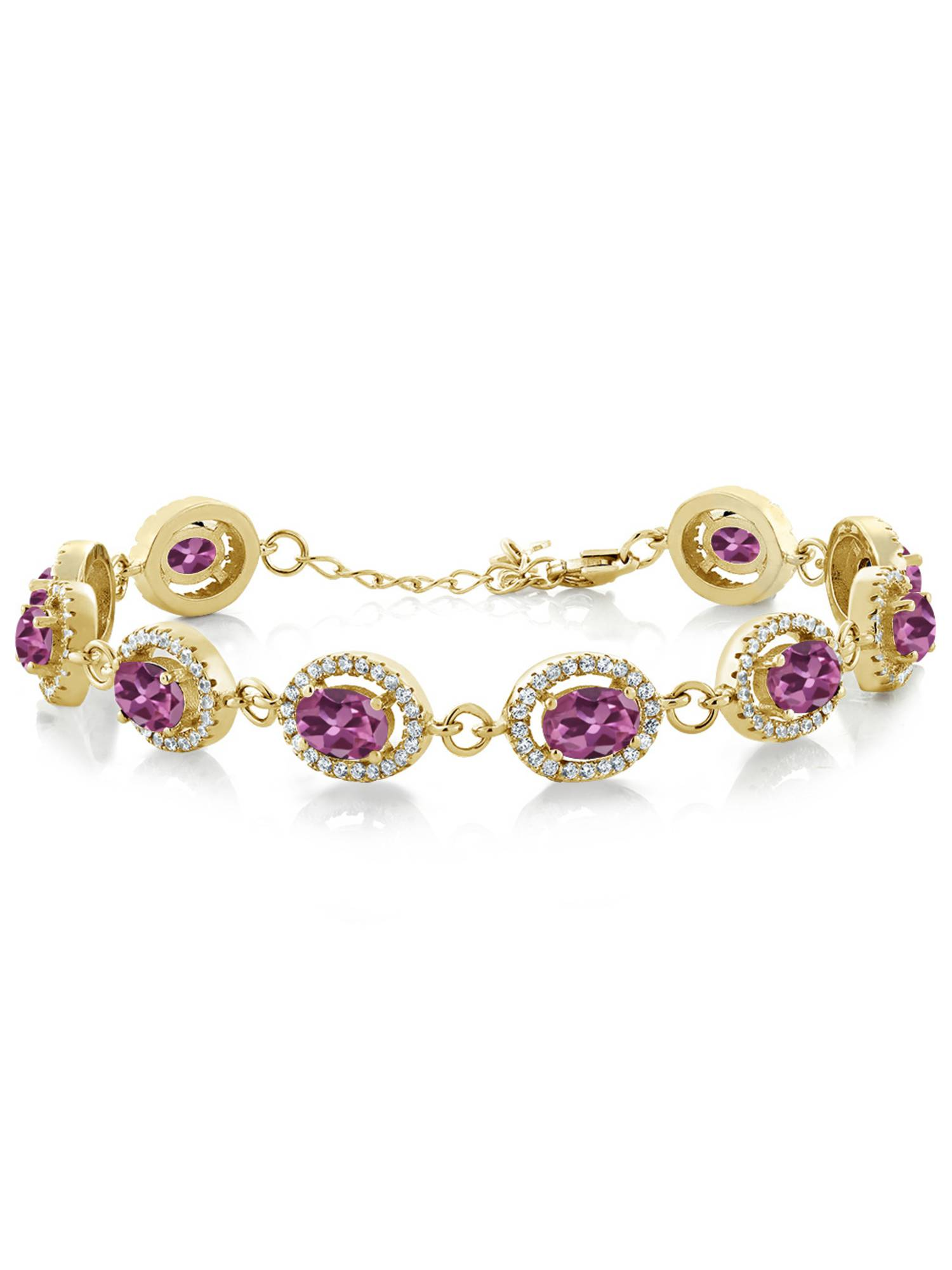 11.38 Ct Oval Pink Tourmaline 18K Yellow Gold Plated Silver Bracelet by