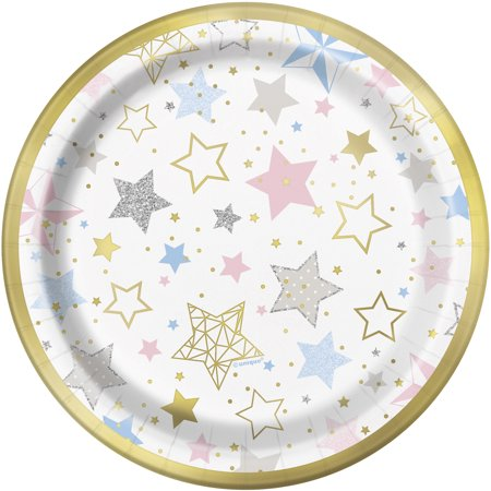 Foil Twinkle Twinkle Little Star Paper Dessert Plates, 7 in, 8ct