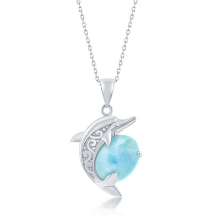 925 Sterling Silver Hawaii Natural Larimar Gemstone High Polished Nautical Dolphin Designed 18'' Pendant Necklace 925 Natural Moonstone Pendant