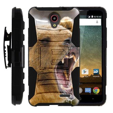 TurtleArmor ® | For ZTE Prestige | ZTE AVID Plus [Hyper Shock] Hybrid Dual Layer Armor Holster Belt Clip Case Kickstand - Bear (Best Caliber For Black Bear Hunting)