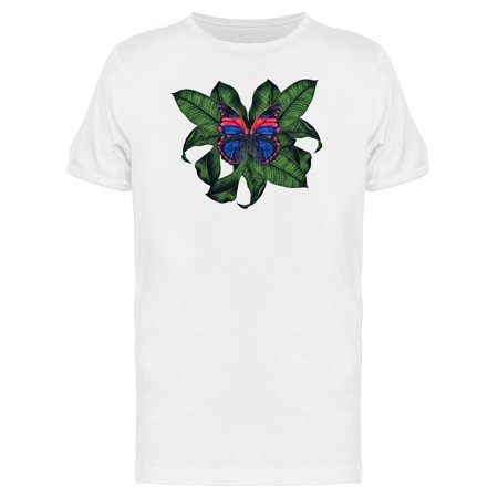 Butterfly Leaf Top - Tropical Leaves & Butterfly Tee Men's -Image by Shutterstock