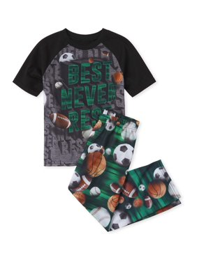 The Childrens Place Boys 4-16 Short Sleeve Raglan 'Best Never Rest' Sports 2-Piece Pajama Pant Set