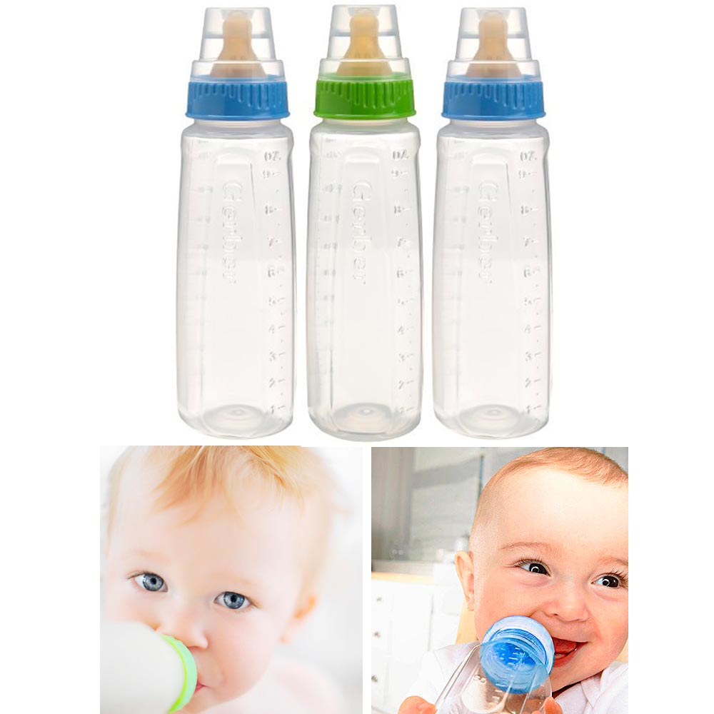 Gerber First Essentials Clearview Bottles with Silicone Nipple in Green and Pi..
