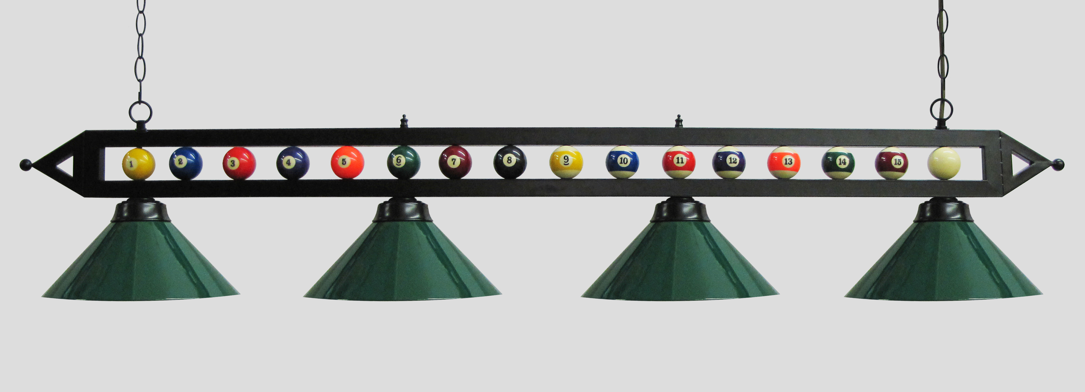 "Click here to buy 72"" Black Metal Ball Design Pool Table Light Pool Table Light W Green Metal Shades."