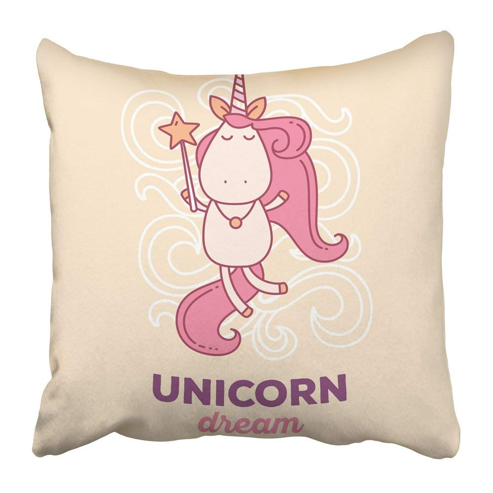 BPBOP Cute Magic Flying Unicorn with Horn Pink Mane Wand and Words Dream Thin Flat Line Design to Make Pillowcase Pillow Cushion Cover 16x16 inch