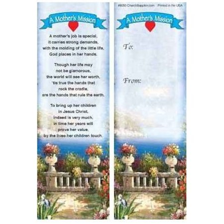 - Mothers Mission Christian Bookmarks - Set of 50 Mother's Day Gift