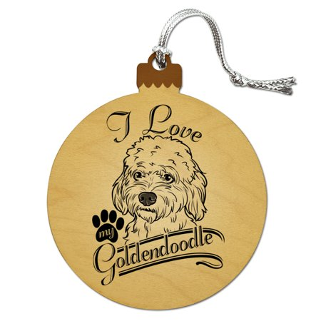 i love my goldendoodle wood christmas tree holiday ornament