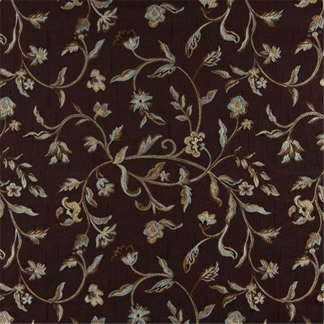 Designer Fabrics K0011F 54 in. Wide Brown, Light Blue, Gold And Ivory Embroidered, Floral Brocade, Upholstery And Window Treatments Fabric