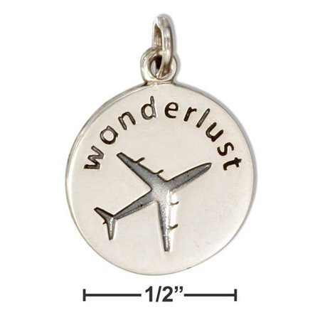 Sterling Silver Round Wanderlust Charm with Airplane - image 1 of 1