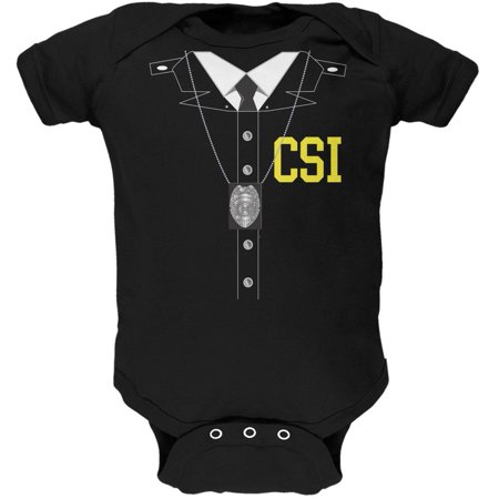 Halloween Crime Scene Investigator Costume Black Soft Baby One Piece (Halloween 2 Final Scene)