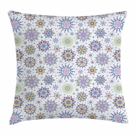 Winter Throw Pillow Cushion Cover, Pastel Colored Detailed Floral Figures Artistic Cute Sweet Snow Blizzard Pattern, Decorative Square Accent Pillow Case, 18 X 18 Inches, Multicolor, by Ambesonne
