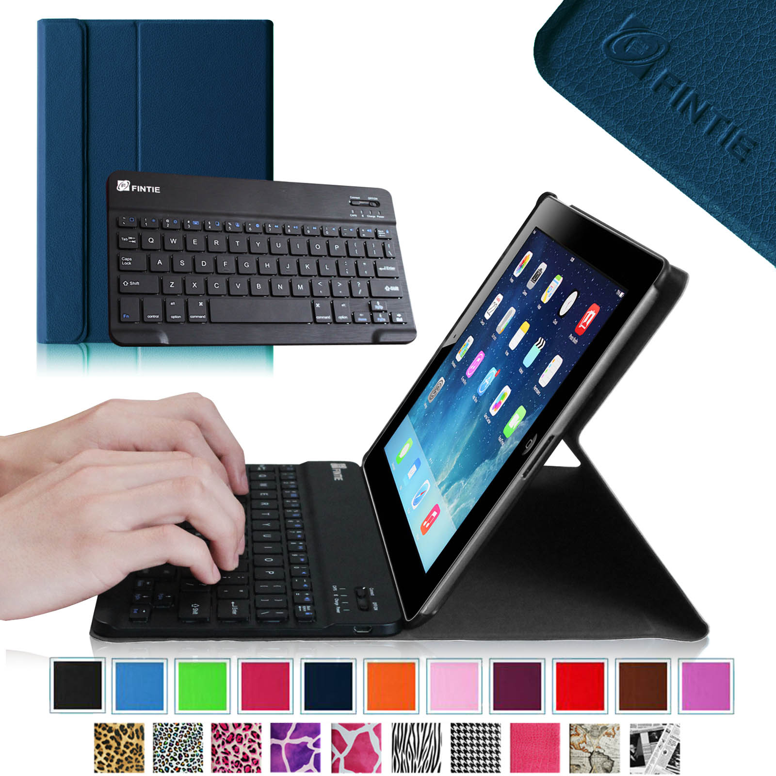 For Apple iPad 4, iPad 3 & iPad 2 Keyboard Case - Fintie SlimShell Stand Cover with Detachable Bluetooth Keyboard, Navy