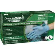 DiversaMed, DVM8645L, Disposable Nitrile Powder Free Exam, 100 / Box, Blue