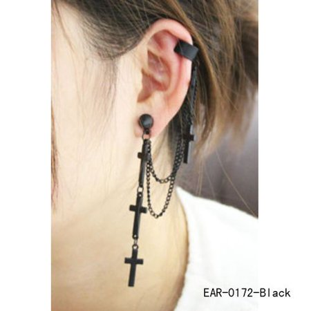 AkoaDa Fashion Punk Style Cross Earring Tassel Ear Clips Ethnic Earrings Women Statement Ear Jewelry Gift Style Cross Earrings