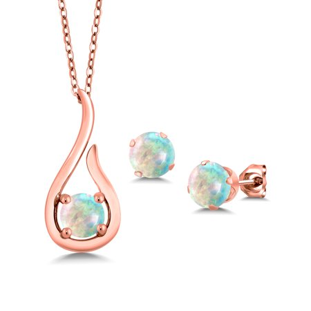 Cabochon Rose (1.50 Ct Round Cabochon White Simulated Opal 18K Rose Gold Plated Silver Pendant Earrings Set With Chain)