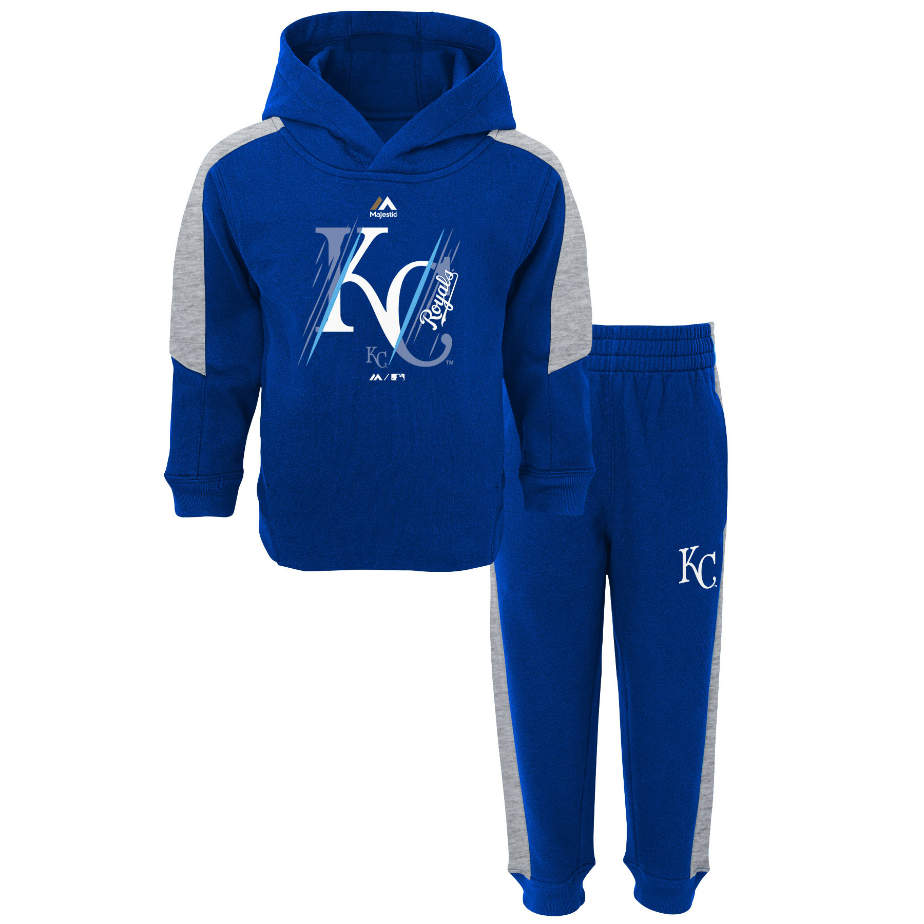 Kansas City Royals Majestic Toddler Outfielder Fleece Hoodie and Pants Set - Royal/Gray