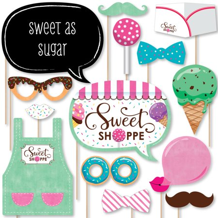 Sweet Shoppe - Candy and Bakery Birthday Party or Baby Shower Photo Booth Props Kit - 20 Count
