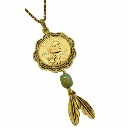 - Sacagawea Brass and Turquoise Pendant