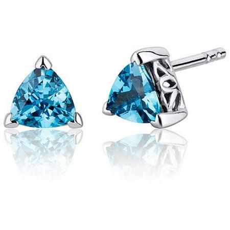 (1.50 Carats Swiss Blue Topaz Trillion Cut V Prong Stud Earrings in Sterling Silver Style SE8002)