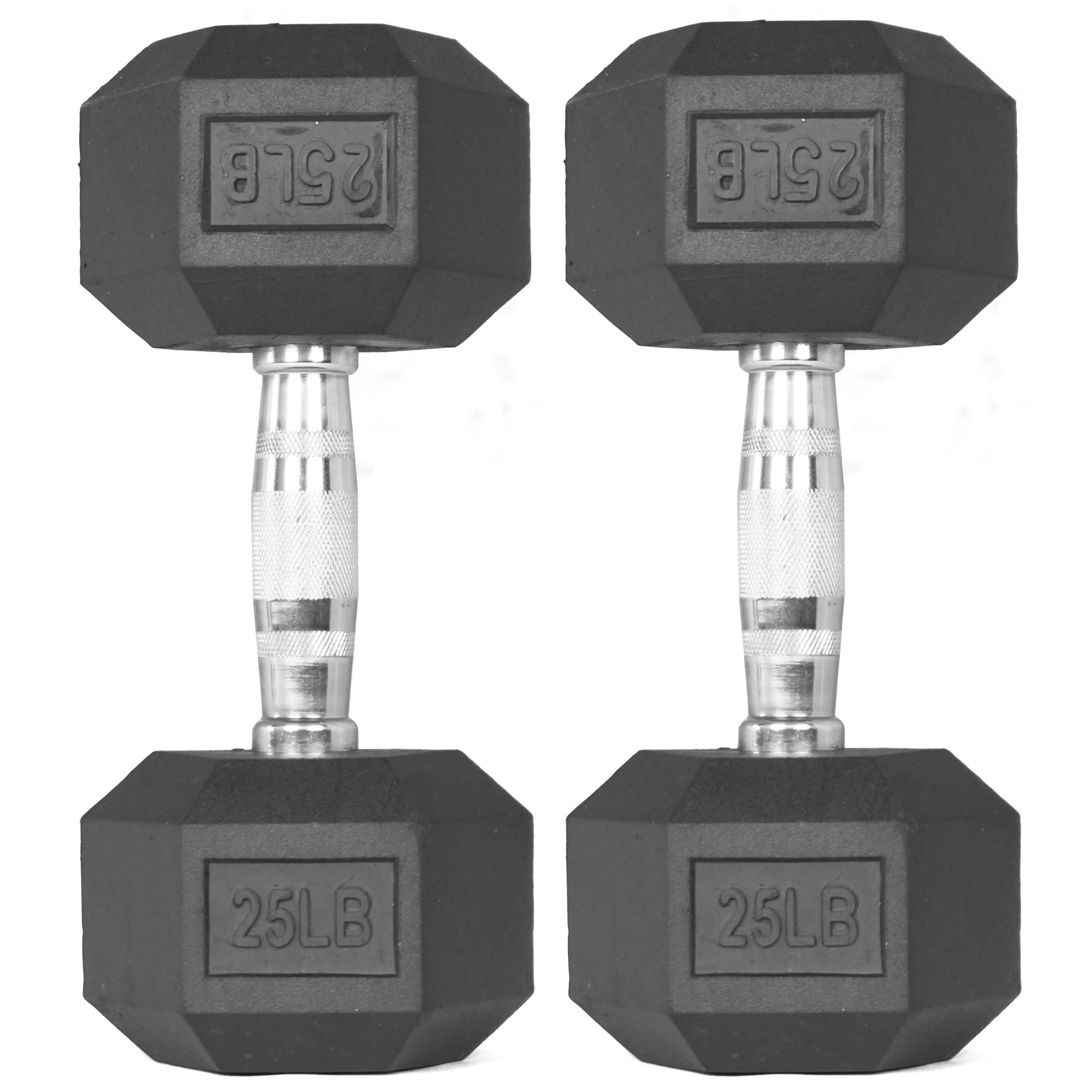 Pair of 25 lb Black Rubber Coated Hex Dumbbells Weight Training Set, 50 lb by Titan Fitness
