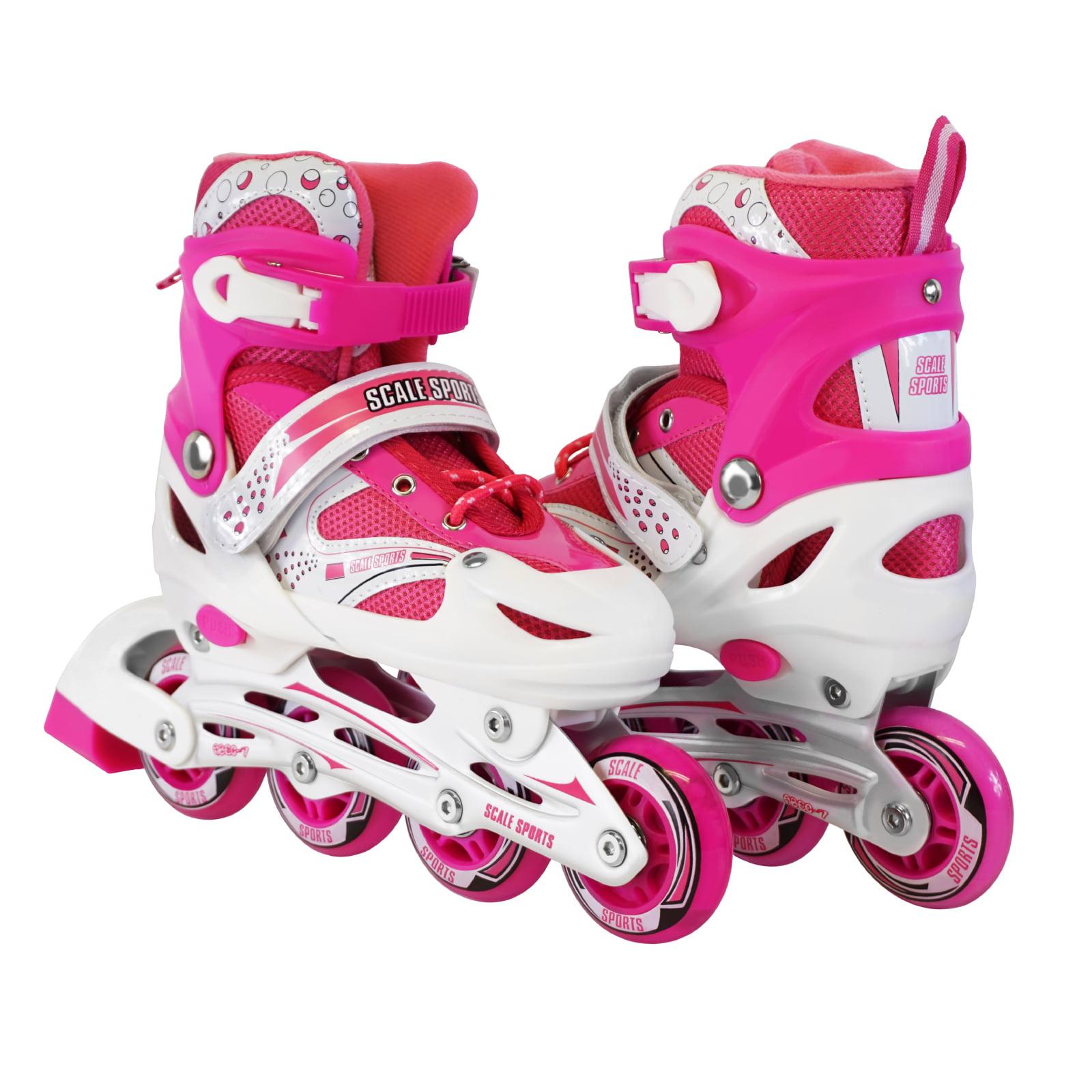 Size 2-4 Adjustable Kids Light Up Inline Skates Blue