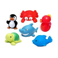 Dollibu Bath Buddies Ocean Critters Rubber Squirter Toys - Dolphin, Sea Horse, Shark, Turtle, Crab, Penguin - 3 inch - For Baths, Pool, Outdoor - Toddler Bathtime Learning (6pc Set)