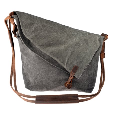 47ccdd678c1c Women Retro Casual Crazy Horse Leather Canvas Crossbody Bag Messenger  Shouder Bag - Grey