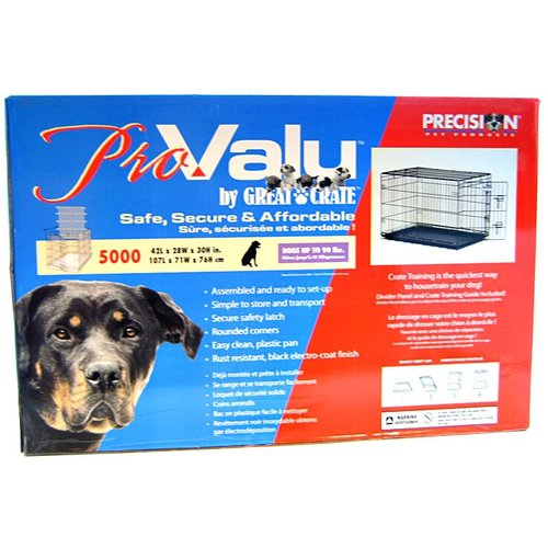 "Precision Pet Pro Valu Great Crate - One Door Model 5000 - 42"" x 28"" x 30"" - Dogs Up to 90 lbs"