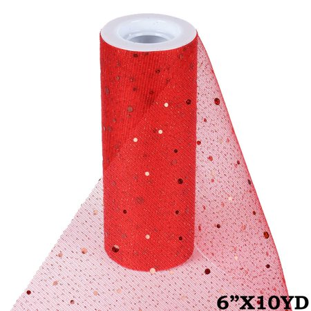 6 inches x 10 yards Sparkled Sequin Tulle Ribbon Roll For Favor Decor - Red