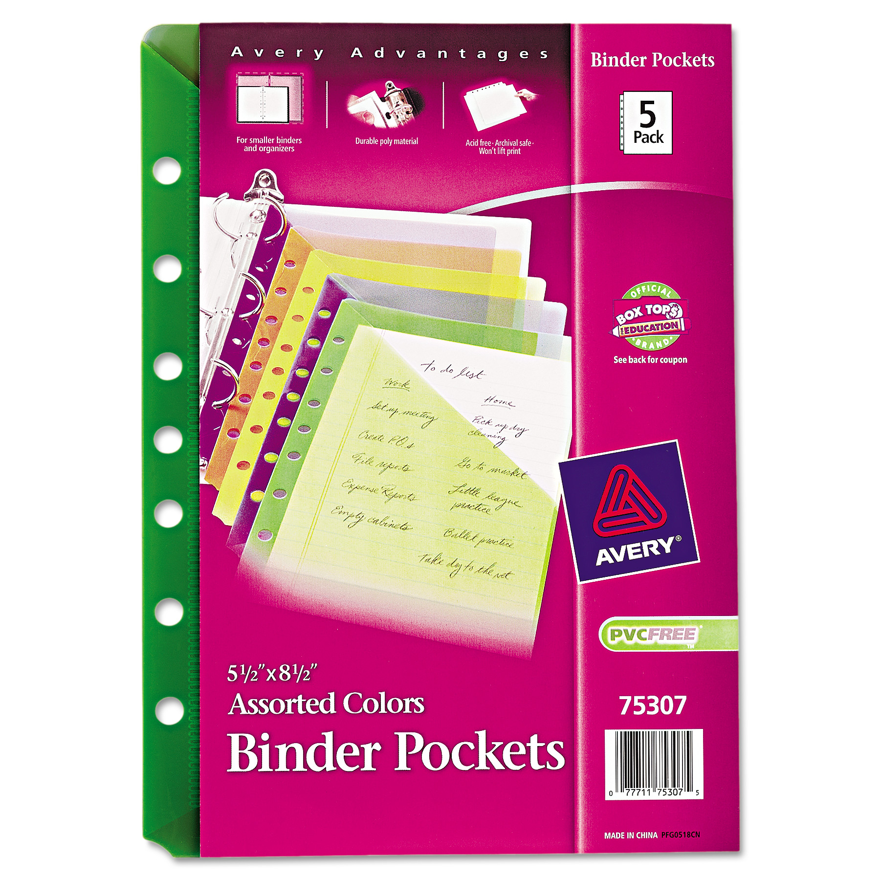 """Avery(R) Mini Assorted Binder Pockets for 5-1/2"""" x 8-1/2"""" Binders 75307, Pack of 5"""