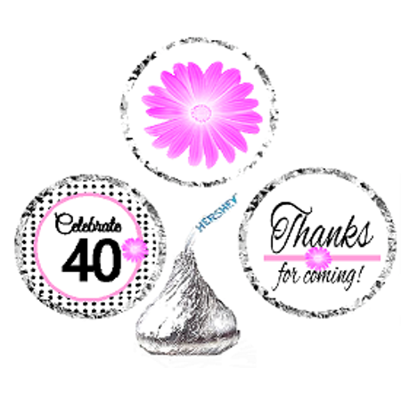 CakeSupplyShop Item#040BPH 40th Birthday / AnniversaryPink Black Polka Dot Party Favor Hershey Kisses Candy Stickers / Labels -216ct (Black Kisses)