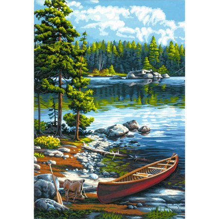 Eeyore Paint By Number - Paintworks Paint By Number 14x20 Canoe By The Lake