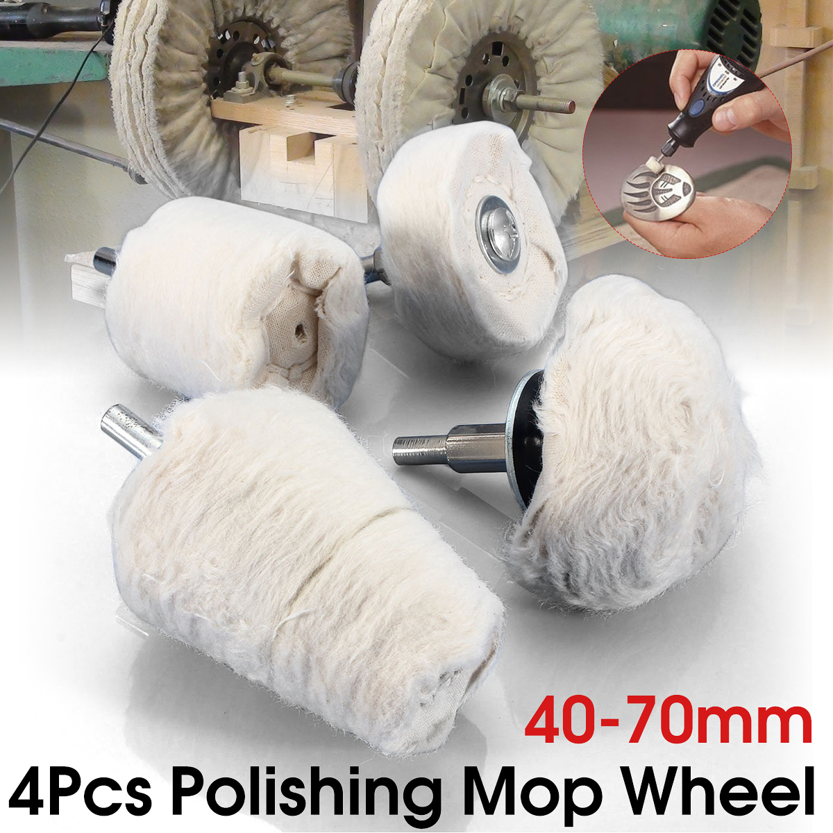 "4-Pack 1/4"" Shank Polishing Mop Wheel Sets Rotary Tool Polishing Mop Buffing Wheel Polish Pad Polisher Drills"