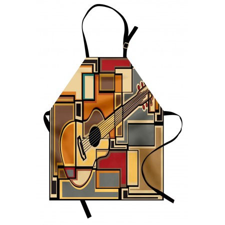 Music Apron Funky Fractal Geometric Square Shaped Background with Acoustic Guitar Figure Art, Unisex Kitchen Bib Apron with Adjustable Neck for Cooking Baking Gardening, Multicolor, by Ambesonne