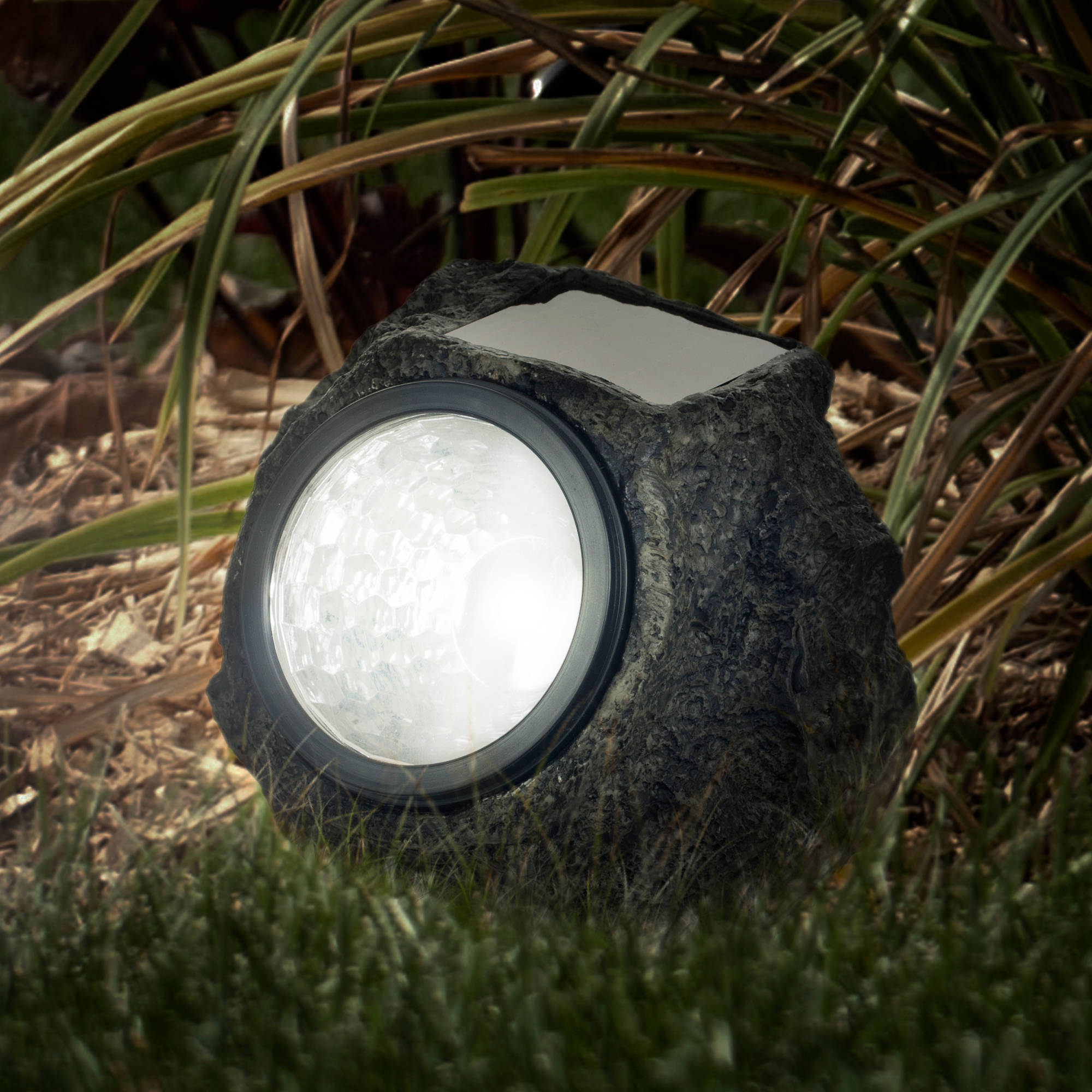 Pure Garden LED Solar Rock Landscaping Lights, Set of 4