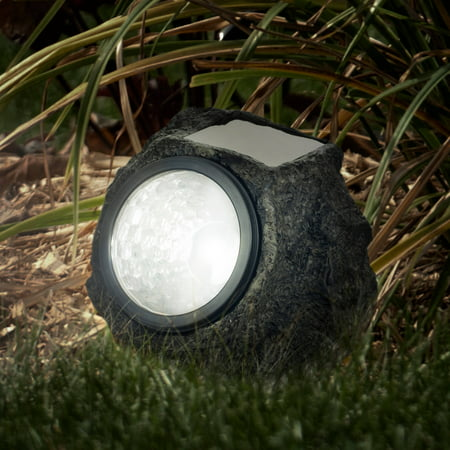 Solar Powered Rock Lights Set of Four Low Voltage LED Outdoor Stone Spotlight Fixture for