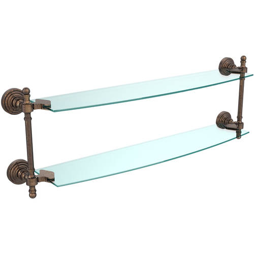 """Retro Wave Collection 24"""" 2-Tiered Glass Shelf (Build to Order)"""
