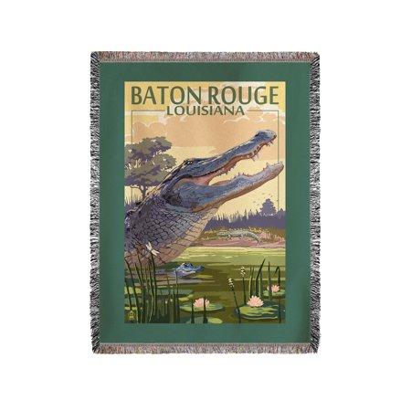 Baton Rouge, Louisiana - Alligator Scene - Lantern Press Artwork (60x80 Woven Chenille Yarn Blanket)