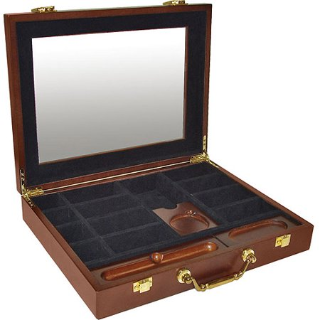 Trademark Poker 240 Capacity Premium Wood Poker Chip Case with Cigar Tray