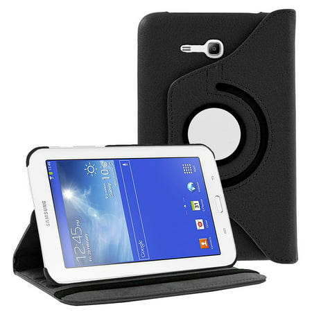 Galaxy Tab E 7.0 Lite Case By KIQ [360 rotating case] pu leather case cover for Samsung Galaxy Tab 3 7.0 Lite T111, Tab E 7.0 Lite T113 (Black) ()