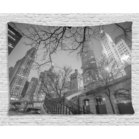 Black and White Decorations Tapestry, Chicago Downtown Night Highrise Buildings Tree Branches, Wall Hanging for Bedroom Living Room Dorm Decor, 80W X 60L Inches, Grey Black White, by Ambesonne - Chicago Decorations