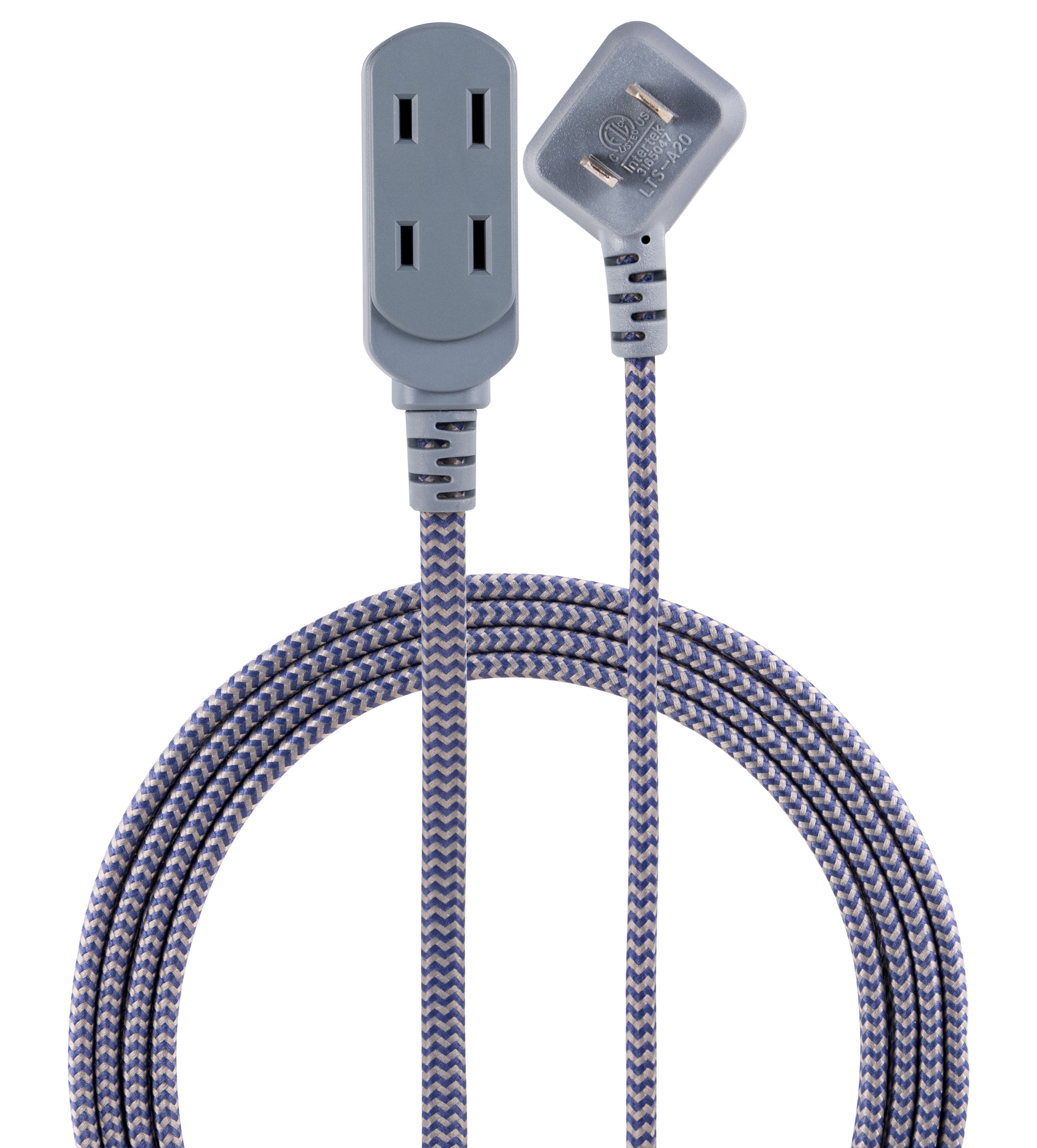 Hyper Tough 9 Foot Low Profile Gray and White Braided Indoor Extension Cord