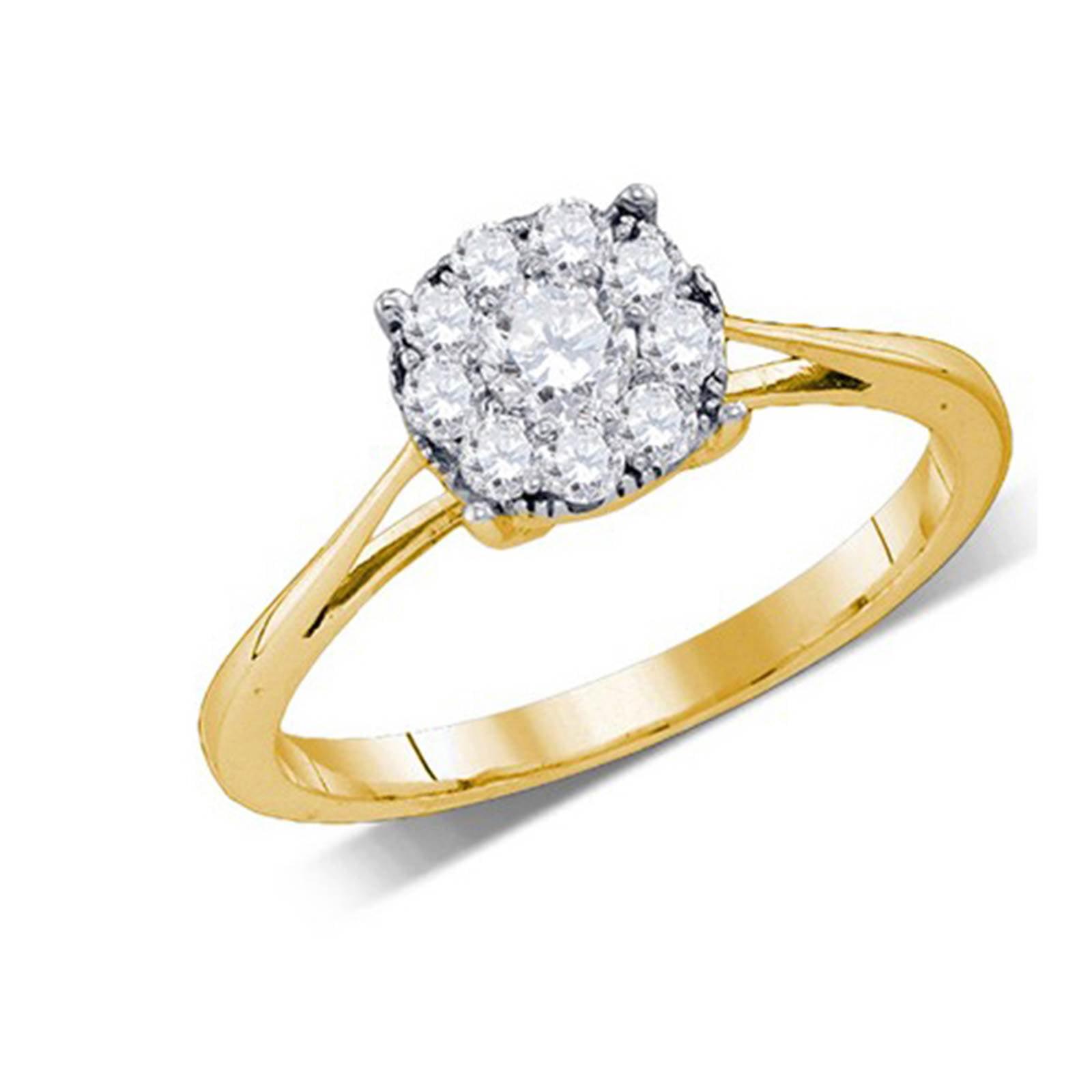 Ladies Yellow Gold Round Brilliant Cut Diamond Seville Engagement Ring 0.26CT