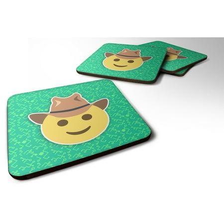 Set of 4 Face with Cowboy Hat Emojione Emoji Foam Coasters Set of 4 - Foam Cowboy Hats