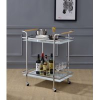 Acme Munro Metal Frame Serving Cart in Chrome and Glass