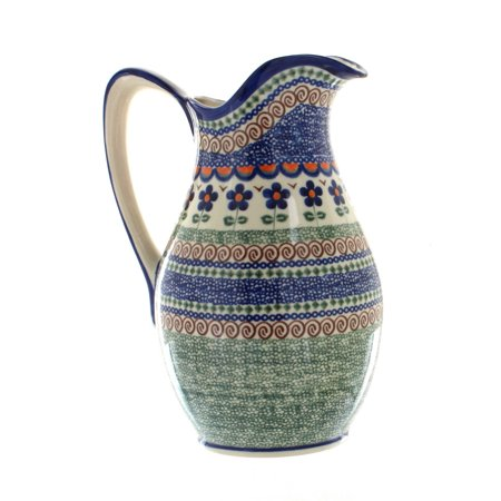 Polish Pottery Aztec Flower Pitcher
